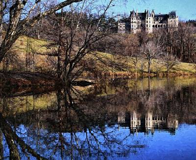 Pittsburgh According To Ron Magnes - Lake Painting Of Biltmore House During Winter by Carol Montoya