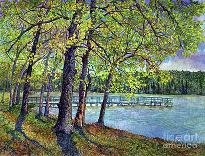 Abstract Oil Paintings Color Pattern And Texture - Lake Raven in Spring, Huntsville State Park by Hailey E Herrera