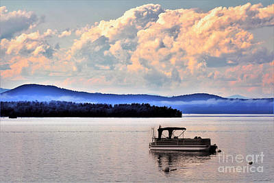 Scifi Portrait Collection - Lake Sebago Sunset Landscape Drama by Diann Fisher