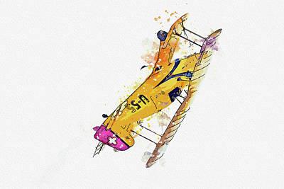 Vintage Movie Stars - Lamb CJ- U-NCL war planes in watercolor ca by Ahmet Asar  by Celestial Images