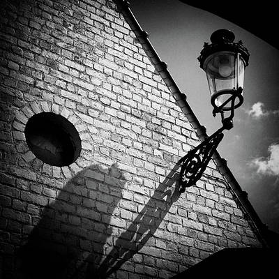 Monochrome Landscapes - Lamp with Shadow by Dave Bowman