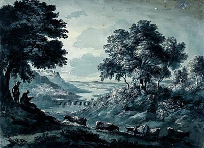 Thomas Kinkade Royalty Free Images - Landscape with cattle Royalty-Free Image by Artistic Rifki