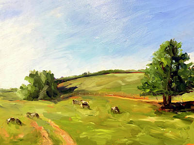 Painting - Landscape with Cows by Bart Levy