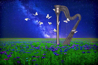 Surrealism Digital Art - Landscape with harp and butterflies by Mihaela Pater