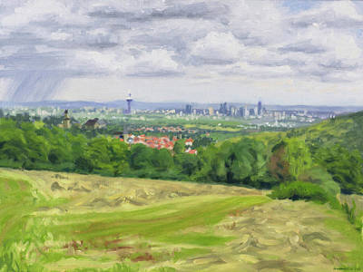 Painting - Landscape with rainy city skyline by Constanza Weiss