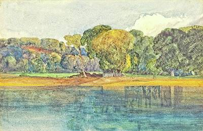 Digital Art - Landscape with Trees and Water by Allen Nice-Webb