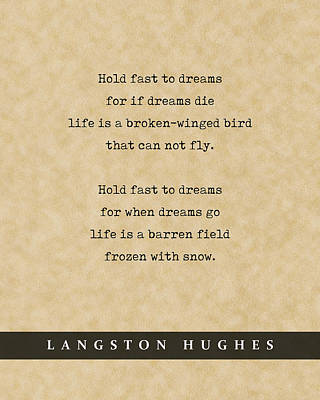 Royalty-Free and Rights-Managed Images - Langston Hughes, Dreams - Quote Print - Literary Poster 01 by Studio Grafiikka