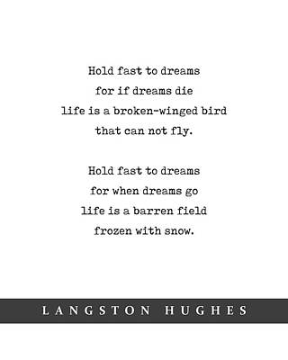 Mixed Media Royalty Free Images - Langston Hughes, Dreams - Quote Print - Minimal Literary Poster 01 Royalty-Free Image by Studio Grafiikka