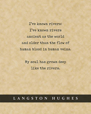 Royalty-Free and Rights-Managed Images - Langston Hughes, Rivers - Quote Print - Literary Poster 02 by Studio Grafiikka