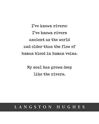 Mixed Media Royalty Free Images - Langston Hughes, Rivers - Quote Print - Minimal Literary Poster 02 Royalty-Free Image by Studio Grafiikka