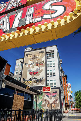 Photograph - Las Vegas Lockdown Fremont 9 Butterfly Mural and Atomic Liquor Sign by Aloha Art