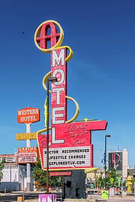 Photograph - Las Vegas Lockdown Fremont Ambassador Western Motel Signs by Aloha Art