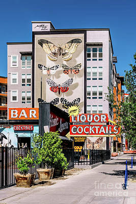 Photograph - Las Vegas Lockdown Fremont Butterfly Mural and Atomic Liquors by Aloha Art