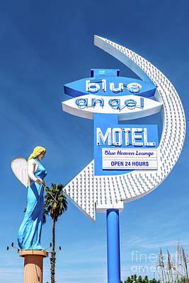 Photograph - Las Vegas Lockdown Fremont Street Blue Angel Motel by Aloha Art