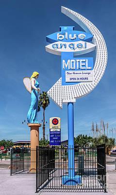 Photograph - Las Vegas Lockdown Fremont Street Blue Angel Motel Full by Aloha Art