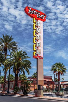 Photograph - Las Vegas Lockdown Lucky Cuss Motel Sign Cloudy by Aloha Art