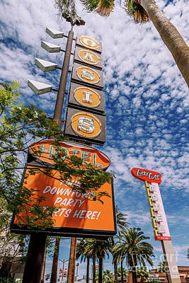 Photograph - Las Vegas Lockdown Oasis and Lucky Cuss Motel Signs by Aloha Art