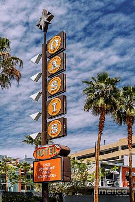 Photograph - Las Vegas Lockdown Oasis Motel Sign Cloudy by Aloha Art