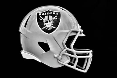 Sports Royalty-Free and Rights-Managed Images - Las Vegas Raiders Helmet by Frozen in Time Fine Art Photography
