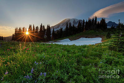 Space Photographs Of The Universe - Last Light over Mt. Rainier by Mike Dawson
