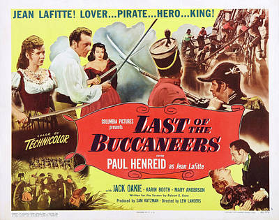 Mixed Media Royalty Free Images - Last of the Buccaneers, with Paul Henreid, 1950 Royalty-Free Image by Stars on Art