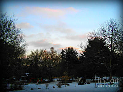 Frank J Casella Royalty-Free and Rights-Managed Images - Late Autumn Snowy Sunrise by Frank J Casella