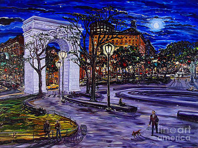 Painting - Late Sunday Night In Washington Square Park by Arthur Robins