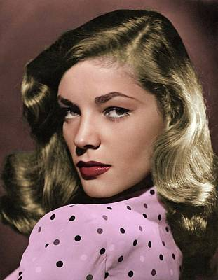 Mans Best Friend - Lauren Bacall colorized by Stars on Art