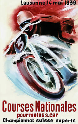 Drawings Royalty Free Images - Lausanne Switzerland 1939 Motorcycle Race Royalty-Free Image by Lausanne