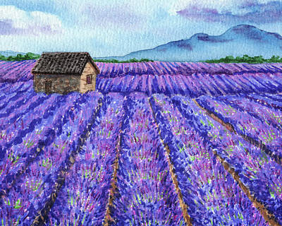 Royalty-Free and Rights-Managed Images - Lavender Farm Purple Field Watercolor  by Irina Sztukowski