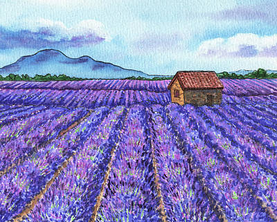 Royalty-Free and Rights-Managed Images - Lavender Fields Of French Province Herb De Provence Watercolor by Irina Sztukowski