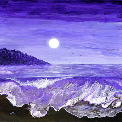 Royalty-Free and Rights-Managed Images - Lavender Moonlight Over the Oregon Coast by Laura Iverson