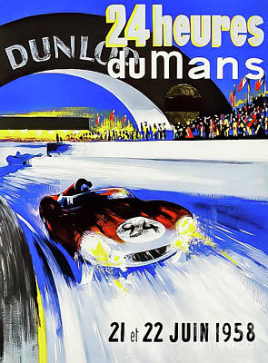 Drawings Royalty Free Images - Le Mans 1958 Grand Prix Royalty-Free Image by P Beligond