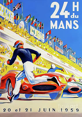 Drawings Royalty Free Images - Le Mans 1959 Grand Prix Royalty-Free Image by P Beligond