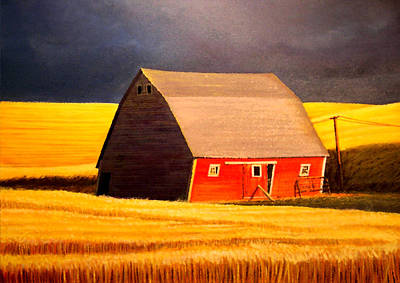 Farm Life Paintings Rob Moline - Leans to the Right by Leonard Heid