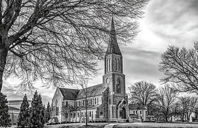 Photograph - Lee University Chapel, Black And White by Marcy Wielfaert