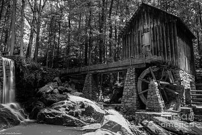 Celebrity Watercolors - Lefler Grist Mill Black And White by Mitch Shindelbower