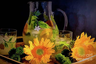 Photograph - Lemonade, Sunflowers and Pompon Buttons by Diana Mary Sharpton