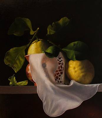 Painting - Lemons and copper vase with white lace cloth by Peter Thomas Foster