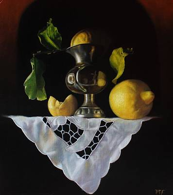 Painting - Lemons, pewter vase and white lace cloth by Peter Thomas Foster