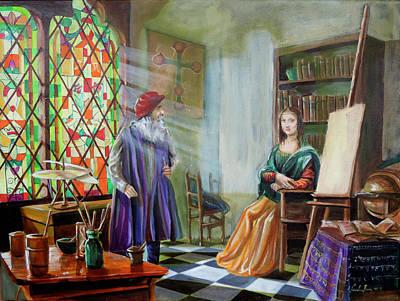 Painting - Leonardo da Vinci and the Mona Lisa  by Gordon Bruce