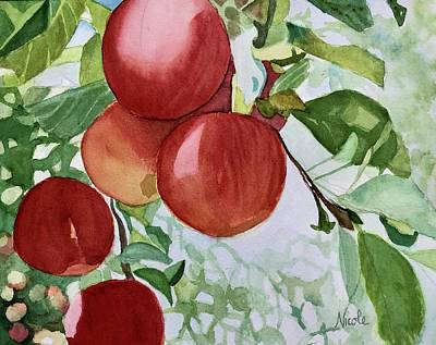 Comic Character Paintings - Les Pommes by Nicole Curreri