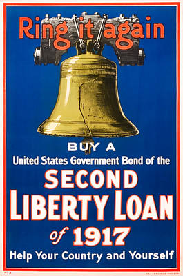 Royalty-Free and Rights-Managed Images - Liberty Bell - Ring It Again - WW1 Fundraising Print - 1917 by War Is Hell Store
