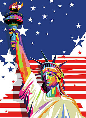 Royalty-Free and Rights-Managed Images - Liberty Statue America Flag Wpap Pop Art by Ahmad Nusyirwan