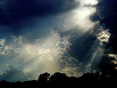 Namaste With Pixels Royalty Free Images - Light Through The Clouds Royalty-Free Image by Mingus Trading Company