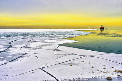 Photograph - Lighthouse andLake Michigan in winter by Eugenio Opitz