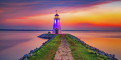 Royalty-Free and Rights-Managed Images - Lighthouse at East Wharf Sunset Panorama by Gregory Ballos