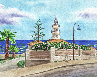 Celebrity Watercolors - Lighthouse Faro De Cullera Spain Valencia Balearic Sea Shore Watercolor  by Irina Sztukowski
