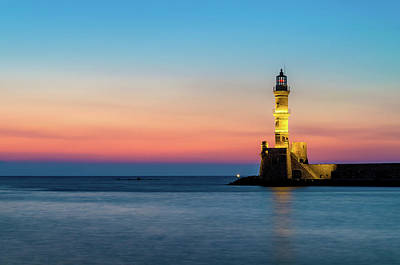 Palm Trees - Lighthouse of Chania in Crete at Sunset by Alexios Ntounas