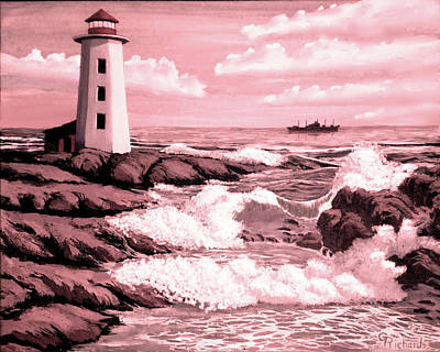 Lucille Ball - Lighthouse Waves Sepia by Gary F Richards